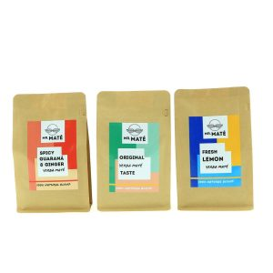 Button to buy product Mr. Maté Triple Flavor Pack. Shows three different Maté blends (Spicy Guarana & Ginger, Original and Fresh Lemon)