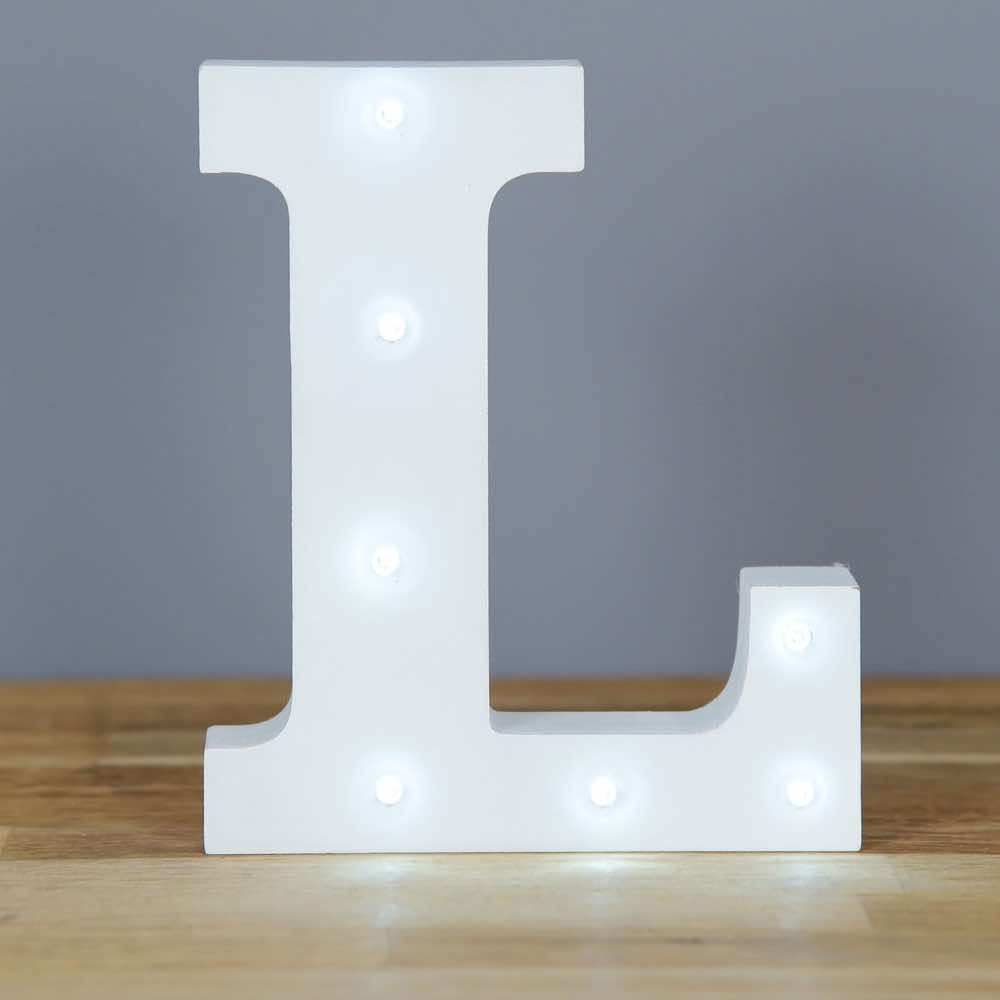 Letra L Luz Led Madera  Mister  Miss Party