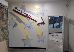 Mural depicting falling stars