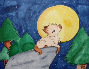 Marker drawing of a wolf sitting on a rock in a forest, staring at the full moon