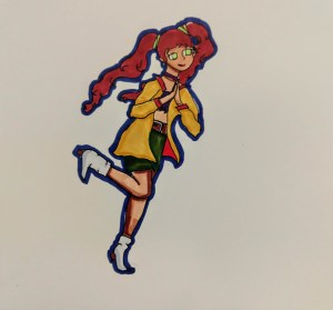 Marker drawing of a running girl wearing a yellow coat