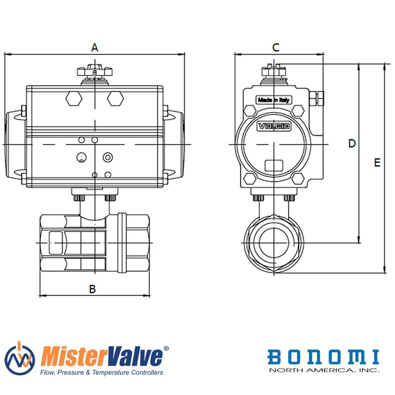 Bonomi 8p0080lf 2-way Actuated Lead Free Brass Valve Sizes
