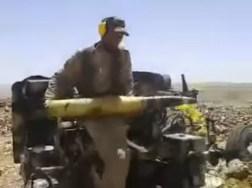 Fotograma del vídeo de un KS-19 siendo usado por Hezbollah en Siria