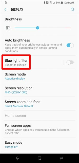 Blue Light filter option
