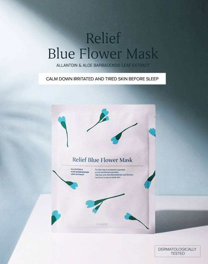 Hygee Relief Blue Flower Mask features and benefits