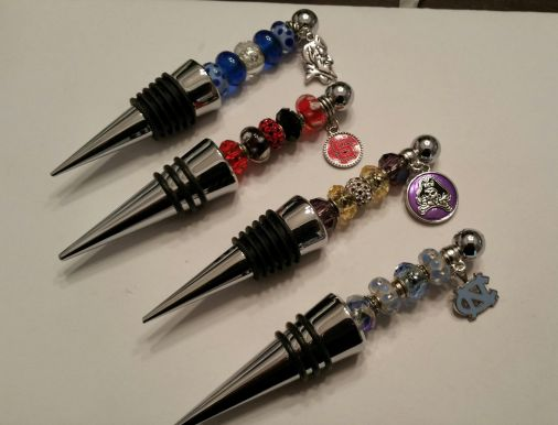 Beads and More custom college themed wine bottle stoppers