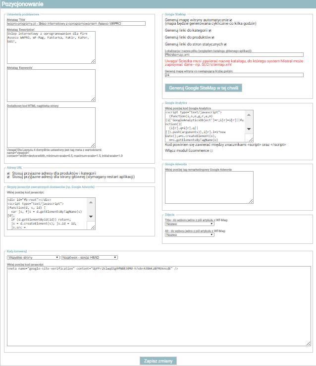Pozycjonowanie - Mistral e-Sklep B2C