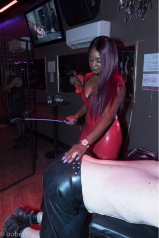 Beating Number 1 slave at Club Femdom
