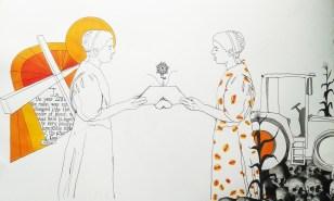 Cycles of Trauma (in progress); mixed media painting by Amanda K Gross