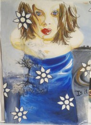 qui est la Juge? (who is the Judge?); Mixed media painting by Amanda K Gross