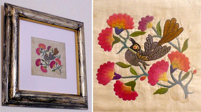 Cuadros con flores bordadas  MISTURA FINA bazar