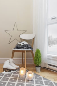 Cozy winter composition in a room