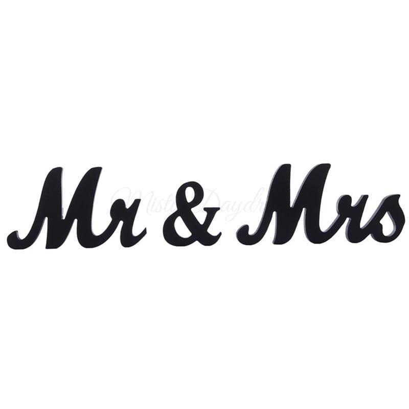 Mr & Mrs Small Wooden Script Font Sign Table Decor