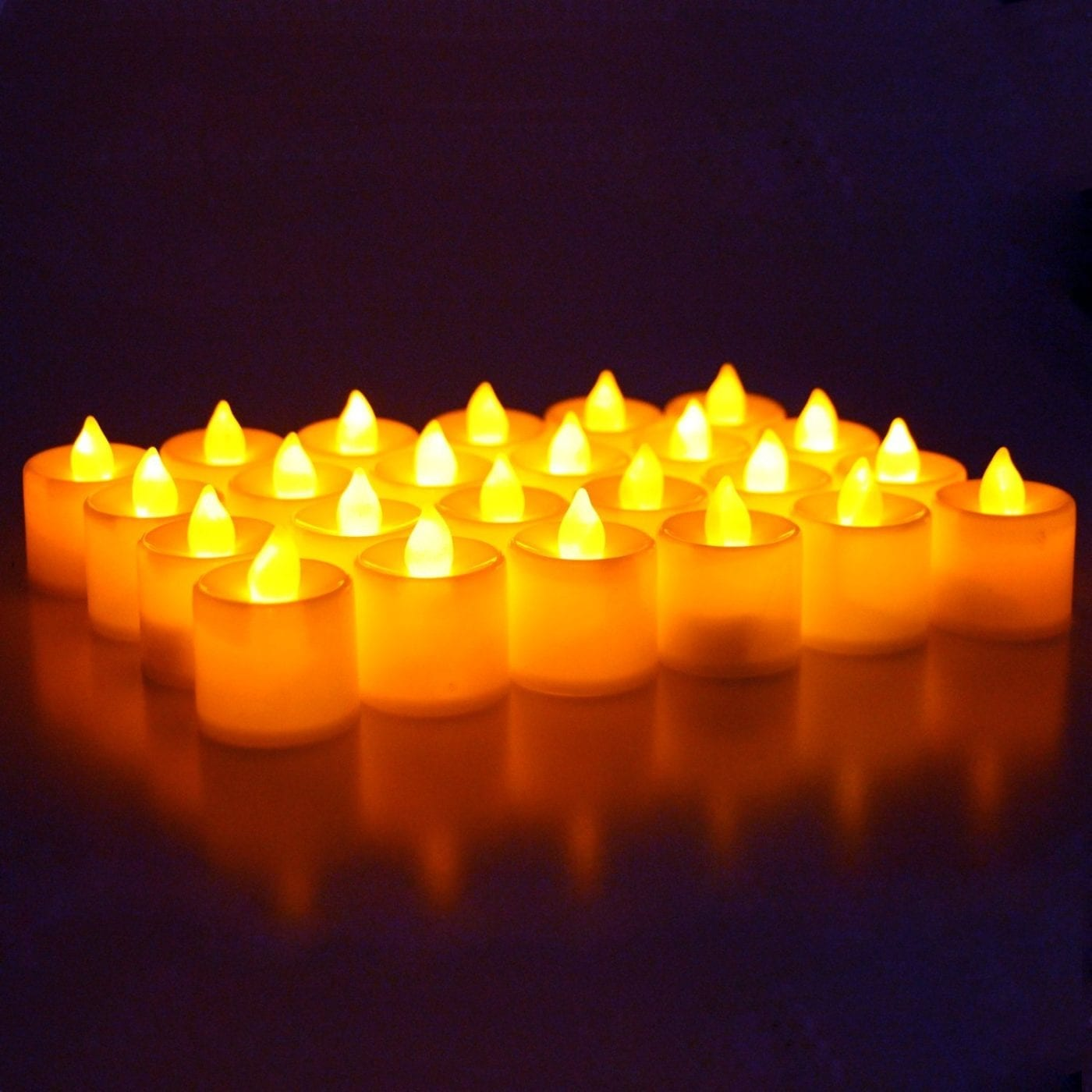 LED Battery Operated Flameless Tealight Candles 24pc Bulk