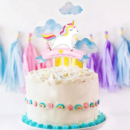 Unicorn Happy Birthday And Clouds Cake Topper Kit Misty Daydream