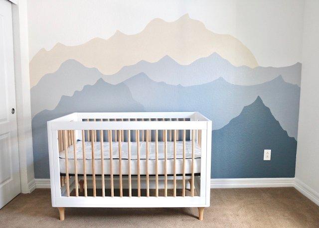 Mountain wall mural for nursery