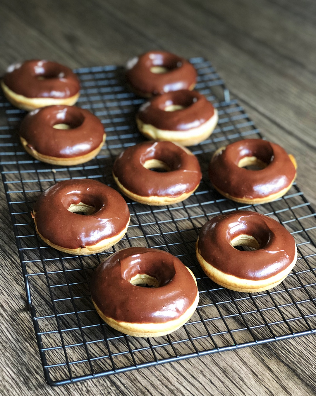 Healthy, Peanut Butter and Chocolate glazed baked donuts!