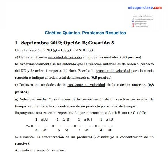 Ejercicios Resueltos Química Cinética Química Misuperclase Com