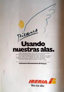 Publicidad De Iberia- Picasso 1982 - Mis Viajes Por Ah