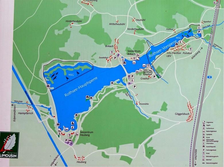 Karte vom Rothsee im Fränkischen Seenland bei Nürnberg