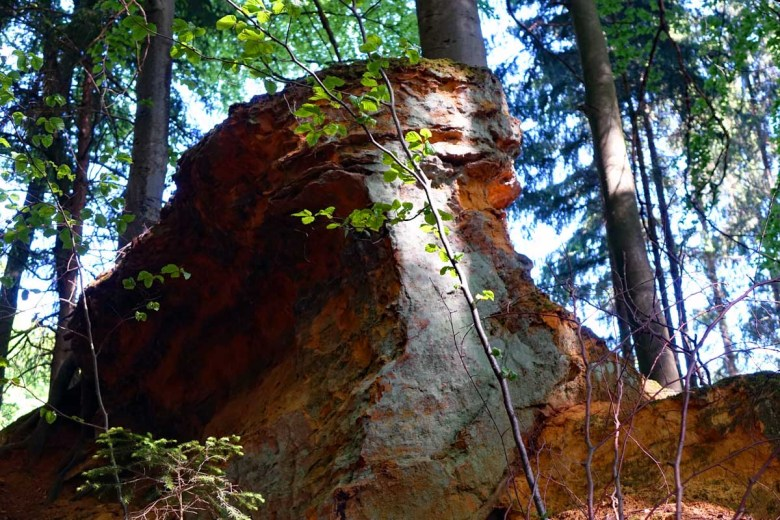 Felsen aus Buntsandstein auf dem Premiumwanderweg Vorgeschichtsweg Thalmässing