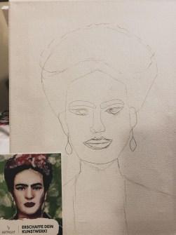 Bleistiftzeichnung von Frida Kahlo