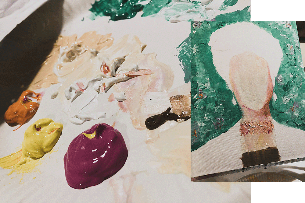 Farbe und Leinwand
