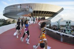 Models at Louis Vuitton's 2017 Cruise collection at the Oscar Niemeyer-designed MAC building in Brazil