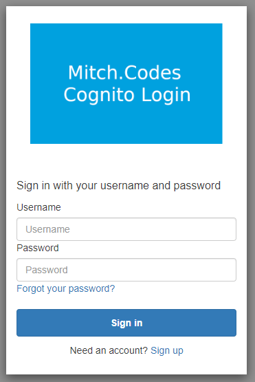 Cognito login page with rounded edges
