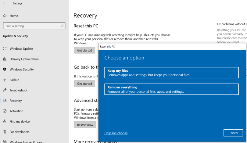 Reset this PC dialog on top of Recovery system settings