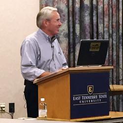 Mitch Cox Tells His Story to ETSU Seniors