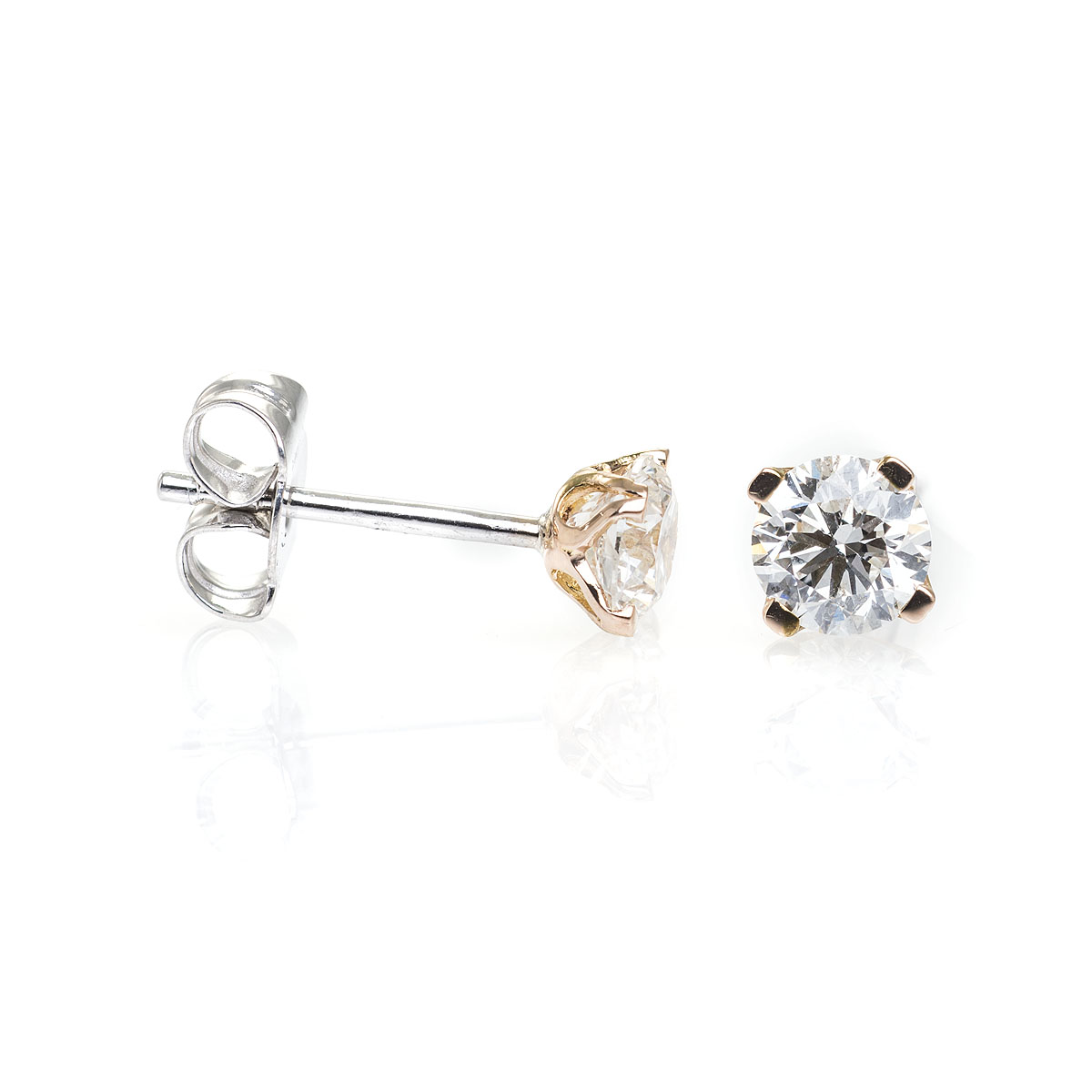 Buy 18ct Rose Gold Diamond Four Claw Omega studs Online