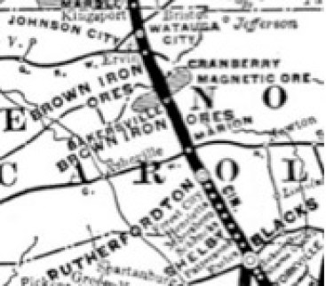 Map showing the proposed route of the railroad.