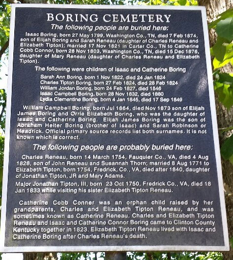 Sign at the Boring Cemetery in Kentucky where John Tipton is buried
