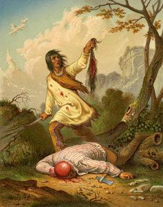 Lithograph of a Native American scalping a settler