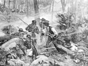 Painting of unidentified soldiers fighting at Kings Mountain.