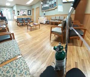 Photo of the empty interior of the Bakersville Clinic