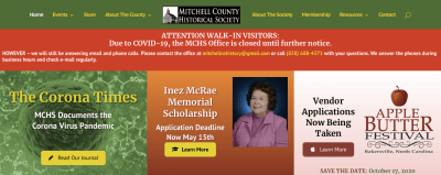Screenshot of the home page of the Mitchell County Historical Society