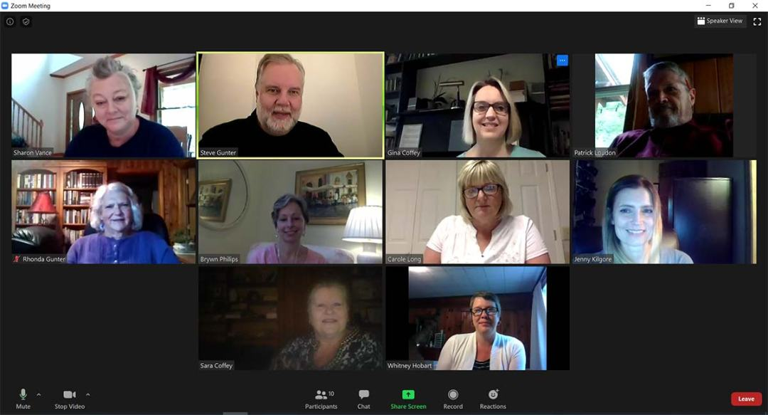 Screenshot from a Zoom meeting with teachers