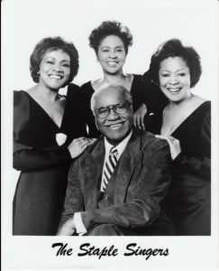 """Left to right:  Cleotha, Yvonne and Mavis Staples. Roebuck """"Pops"""" Staples is seated. Photo Provided - 1984 ."""