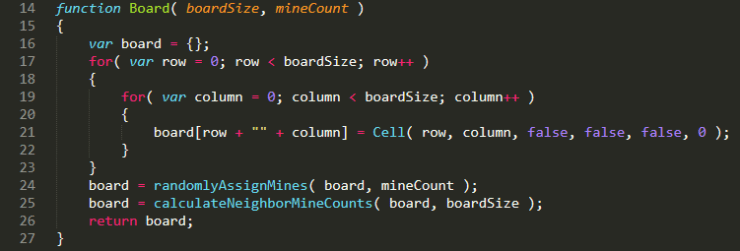 JavaScript code for the minesweeper board