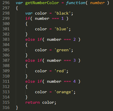 JavaScript code that gets passed a number and returns a color.