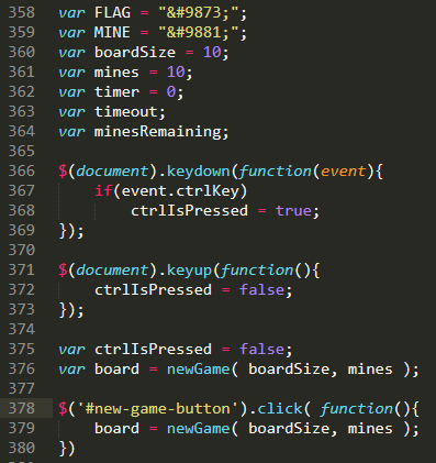 JavaScript code for initializing minesweeper