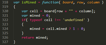 JavaScript function that checks if a cell is mined.