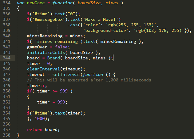 JavaScript code for starting a new game of minesweeper.