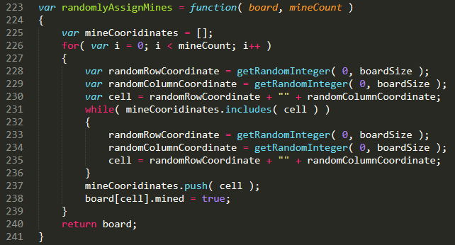 JavaScript code for randomly assigning mines