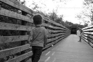 My godson running to my daughter