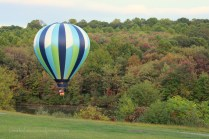 A hot-air balloon passed by.