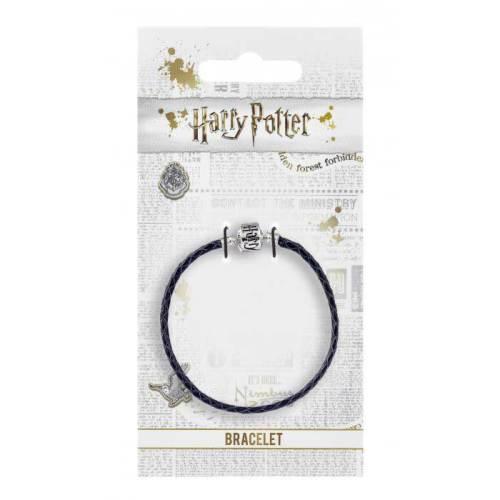 Braccialetto in pelle nera con chiusura WBE Harry Potter