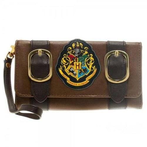 Portafoglio da donna con stemma di Hogwarts e fibbie Harry Potter